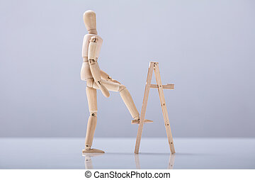 Wooden Figure Climbing Ladder