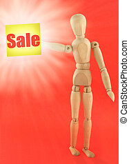 figure holding Sale adhesive note