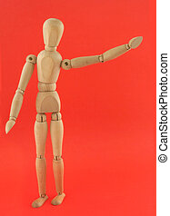 wooden figure in a welcoming pose