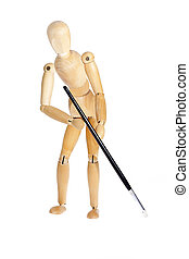 Wooden figure with brush on a white background