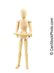 Wooden figure with pencil isolated on white