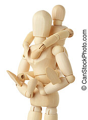 wooden figures of child sitting on back of his parent and embracing him, half body, isolated on white
