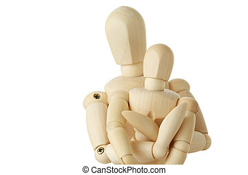 wooden figures of parent embracing his child from back, half body, isolated on white, square format