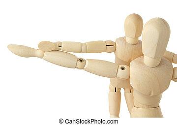 wooden figures parent and child, hands apart, half body, ...