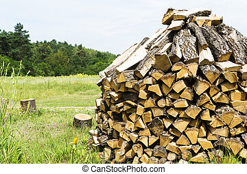 Wooden firewood stuked on a green grass
