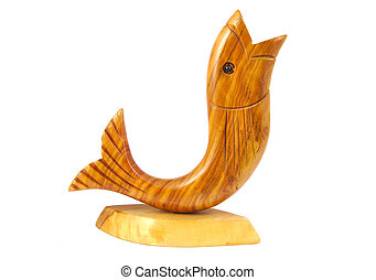 Wooden fish statuette isolated on a white background