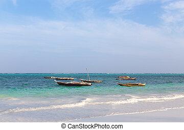wooden fishing boat in the ocean su