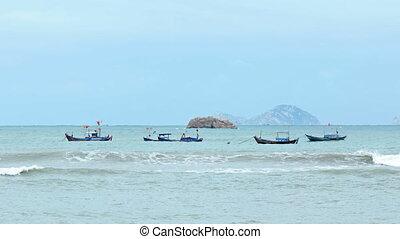 Wooden Fishing Boats Anchored off Nha Trang, Vietnam -...