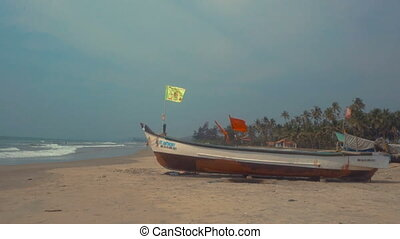 Wooden fishing boats on beach