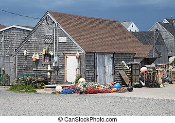 Wooden fishing shack