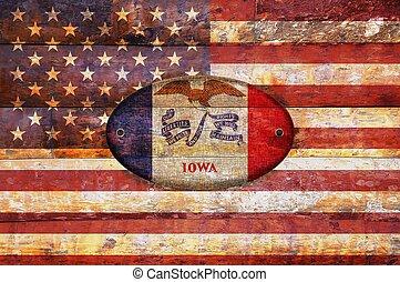 Wooden flag of Iowa.