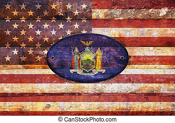 Wooden flag of New York.