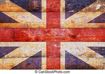 Wooden flag of United Kingdom.
