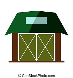 Wooden flat Barn house icon. Sign isolated on white background. Vector illustration.