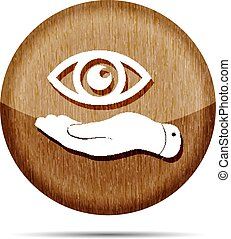 wooden flat hand represents the eye icon - vector illustration
