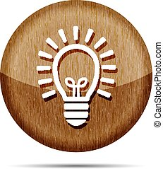 wooden flat lamp bulb icon - vector illustration