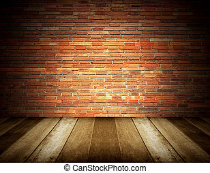 wooden floor and brick wall background