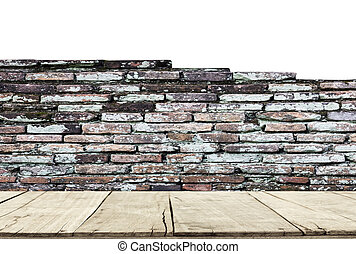 wooden floor and old brick wall for background texture