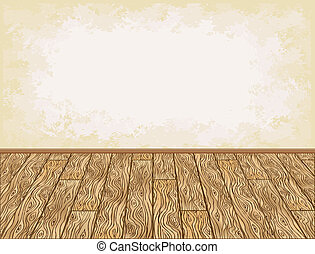 Wooden floor background - Wooden floor and grungy wall...