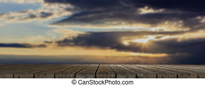 Wooden floor, cloudy sky at dawn background, banner, copy space. 3d illustration