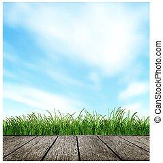 Wooden Floor, Grass And Sky