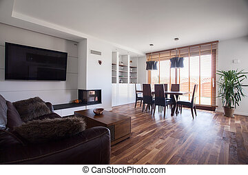 Wooden floor in cozy interior - Wooden floor in cozy drawing...