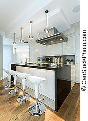 Wooden floor in modern kitchen