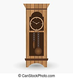 wooden floor pendulum clock vector object eps10