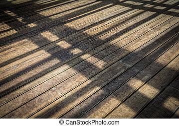 Wooden Floor Perspective. Shadow Pattern.