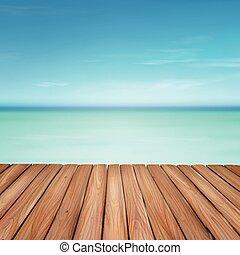wooden floor with beautiful ocean and blue sky