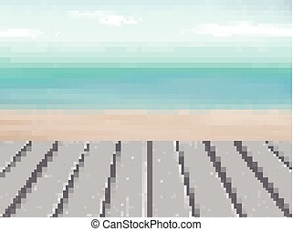 wooden floor with blurred beach