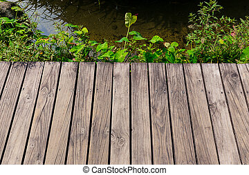 Wooden floor with lake