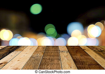 Wooden floor with light blurred background.