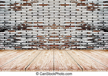 wooden floor with old brick wall background