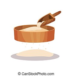 Wooden flour sifter and scoop, baking Ingredient vector Illustration on a white background