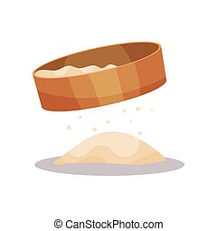 Wooden flour sifter, baking Ingredient vector Illustration on a white background