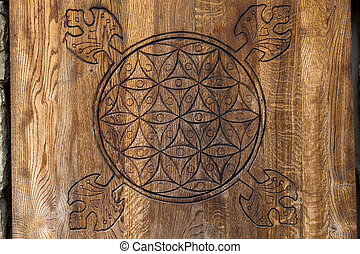 Wooden Flower of Life. The Flower of life is an ancient...