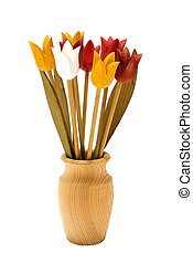 Wooden flowers in a vase, isolated on white background