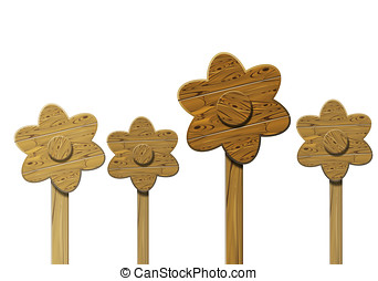 Wooden flowers isolated over white background