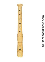 Wooden flute on white
