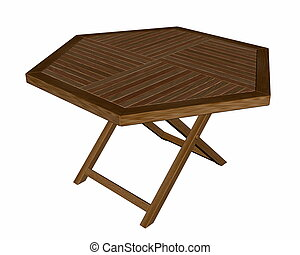 Wooden folding table - 3D render