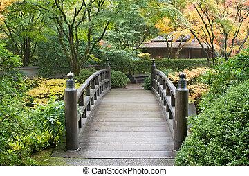 Wooden Foot Bridge in Japanese Garden