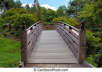 Wooden Foot Bridge to Tsuru Island Japanese Garden