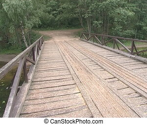 Wooden footbridge across the river