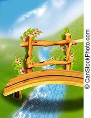 Wooden footbridge - Highly detailed cartoon background 64 -...