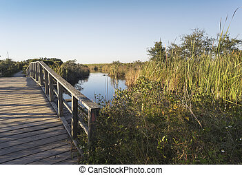 Wooden Footbridge Path at Fort Pickens - Old wooden arched...