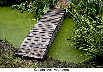 Wooden Footpath Bridge Crossing Pond In Garden