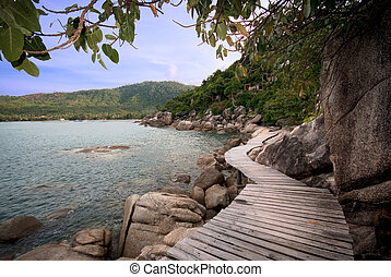 wooden footpath - footpath to a clear mountain lake