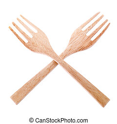 wooden fork isolated on white background