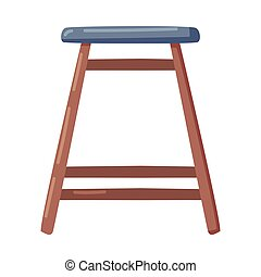 Wooden Four-legged Stool as Seat Furniture Vector Illustration. Chair Without Back or Armrests Concept
